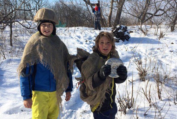 kids posing in snow