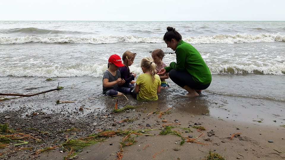 An adult and four children sit in the water on a beach shoreline