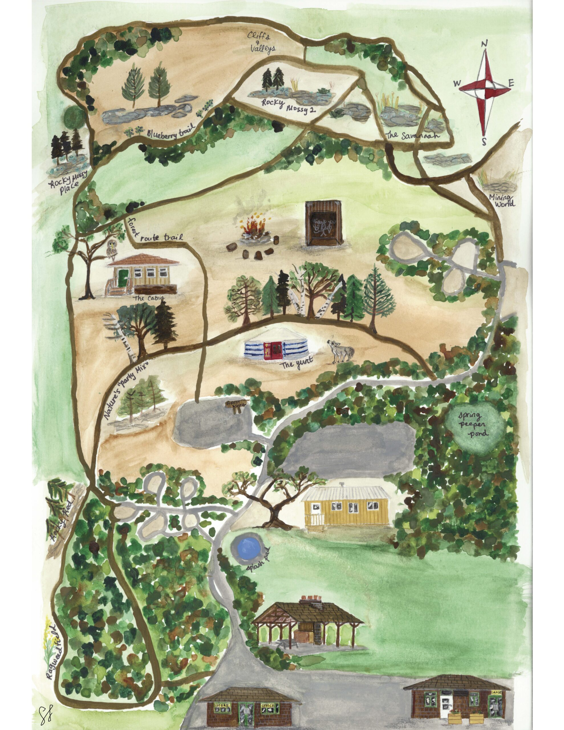 A watercolour map of the Ottawa Forest and Nature School